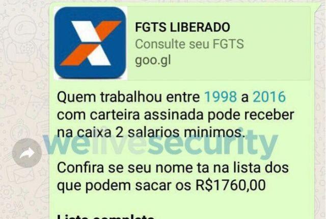Golpe do FGTS no WhatsApp que promete R$ 1,7 mil já atingiu 360 mil
