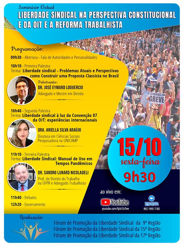 Seminário sobre Liberdade Sindical acontece hoje com transmissão pela Feeb-PR