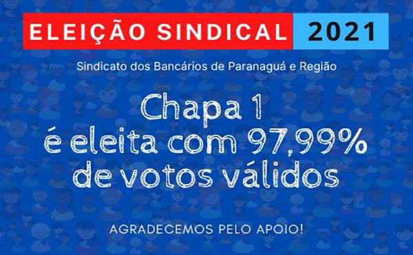 Com 97,99% dos votos válidos, é eleita a nova diretoria do Sindicato dos Bancários de Paranaguá e Região – Gestão 2021/2025