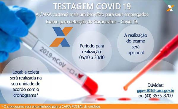 COVID-19 - CAIXA AUTORIZA TESTAGEM EM SEUS FUNCIONÁRIOS