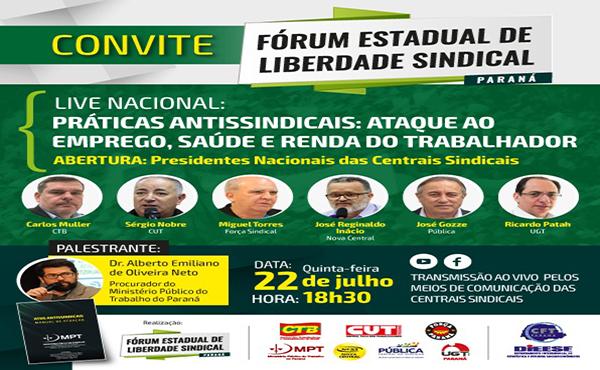 Convite - Live Nacional do Fórum Estadual de Liberdade Sindical